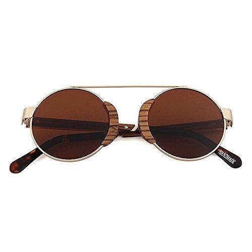 metálico Protección sol polarizadas Gafas para de de Retro redondas Conducir libre marco clásicas sol sol madera Gafas Playa de de de al sol hombres Gafas retro Gafas Marrón d de esquí Pesca UV de Gafas aire Rx6ttPwq