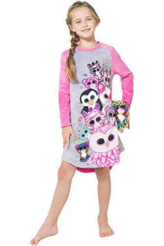 TY Beanie Boo Little Girls' Beanie Boo Plush Raglan Nightgown, Gray, 6/6x (Beanie Boos Sports)