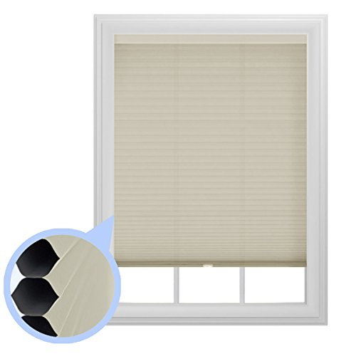 (The Miro Brand Set of Two - 9/16 in. Trimmable Room Darkening Ivory Cordless Cellular Window Shades, 36 by 64 in.)
