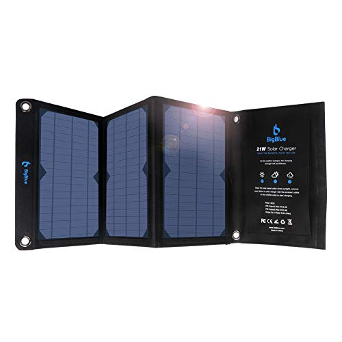 BigBlue 21W Solar Charger with Dual USB Ports(3.8A Max Total), Foldable Waterproof Outdoor Solar Panels Charger Compatible with iPhone Xs XS Max XR X 8 7 Plus, iPad, Samsung Galaxy S9 S8, LG etc.
