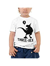 payatek Three-Rex Toddler Short Sleeve Tee Dinosaur 3rd Birthday Turning Three Years Old