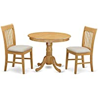 East West Furniture ANNO3-OAK-C 3 Piece Kitchen Table and 2 Dining Chair Set