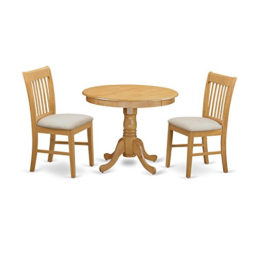 East West Furniture ANNO3-OAK-C 3 Piece Kitchen Table and 2 Dining Chair Set - 2 Piece Oak Desk