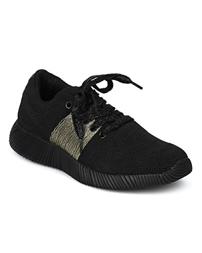 Women Lace Up Jogger Sneaker - Metallic Band Low Top Sneaker - Casual Trendy Versatile Everyday Gym Workout - HD45 By Qupid Collection - Black Mix Media (Size: (Baby Hazel And Halloween Night)