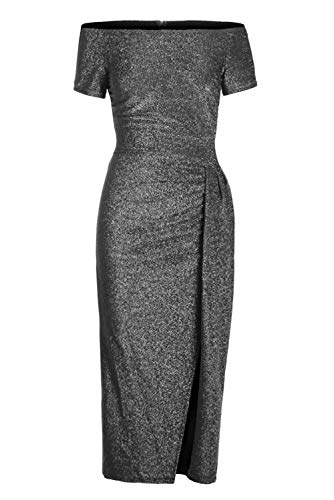 (QUEENIE VISCONTI Women Off The Shoulder Party Dresses -Short Sleeve Metallic Slit Sequined Gowns Evening Dress Black)