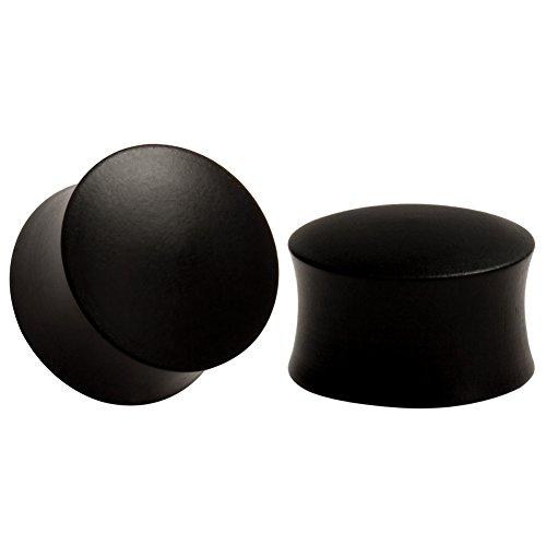 KUBOOZ Wooden Design Ear Expander Black Solid Color Plugs Ear Piercing Gauge Size 18mm