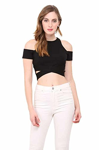 91815685be505 LE BOURGEOIS Crop top with Cut Out Sleeve for Women  Amazon.in ...