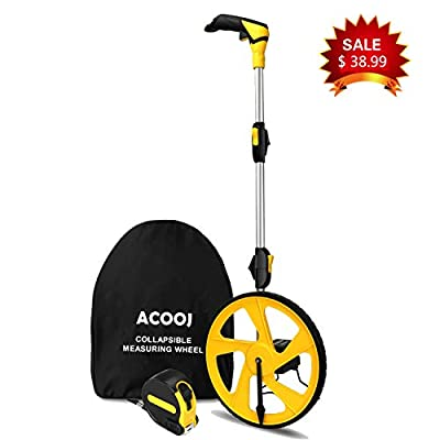 Measuring Wheel ACOOJ Collapsible with Kickstand and Cloth Carrying Bag Measurement 0-9,999 Ft.
