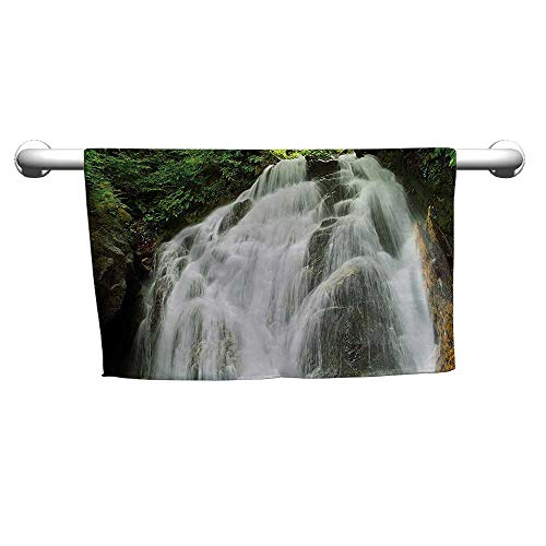 Premium Waterfall Decor Collection,Surprise Waterfall in Jungle Shrubs Water Splashes Pattern,White Green,Bath mat Towel for Bathroom (Waterfall Collection 14k)