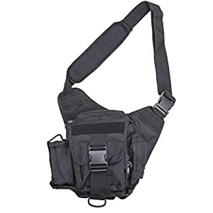 Quality Choices Tactical Messenger Bag, Ergonomic Bag with Shoulder Strap and Bottle Holder