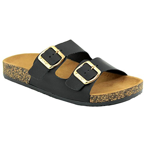 Women's Casual Buckle Double Strap Platform Footbed Flat Sandals ()
