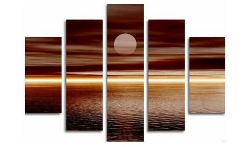 Superbe Amazon.com: 100% Hand Painted Art Moon Rising From Sea Modern Oil Painting  On Canvas Wall Art Home Decoration 5 Piece Art On Canvas Stretch And Ready  To ...