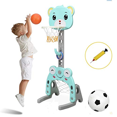 Costzon Basketball Hoop Set Stand, Kids 3-in-1 Sports Activity Center, Adjustable 4.7Ft-5.2Ft, Basketball Stand Set with Darts / Ring Toss / Football / Soccer Goal, Best Gift for Kids (Lovely Bear)