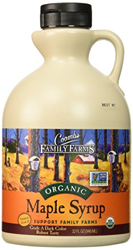 Serve an Easy Recipe for Corn Fritters with Ham with Coombs Family Farms Maple Syrup, Organic, Grade A, Dark Color, Robust Taste, 32 Ounce Jug