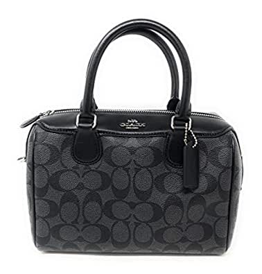 e12fdba38987 Image Unavailable. Image not available for. Color  New Coach Signature Mini  Bennet Satchel (Black Grey)