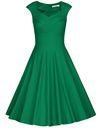 MUXXN Women's 1950s Vintage Retro Capshoulder Party Swing Dress (S, Green)