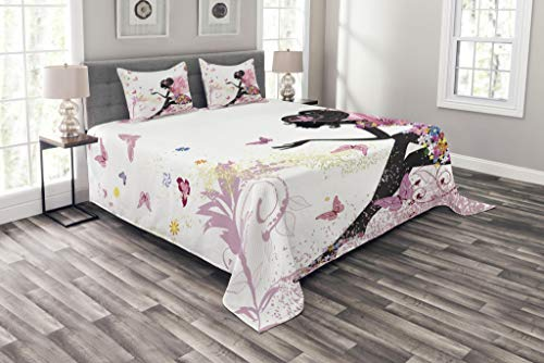 - Ambesonne Fashion Bedspread, Fairy Girl with Wings in a Floral Dress Fantasy Garden Flying Butterflies, Decorative Quilted 3 Piece Coverlet Set with 2 Pillow Shams, Queen Size, Pink White