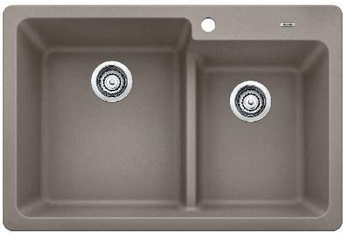 Blanco 442090 Blanco 442090 Grandis 33 Drop In or Undermount SILGRANIT Double Bowl Kitchen Si