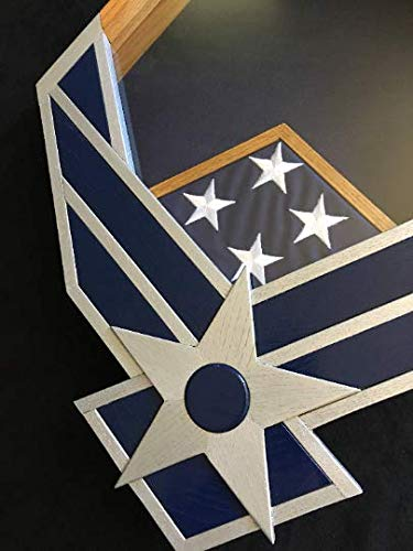 Handcrafted Silver and Navy Air Force Falcon Shadowbox by Full Medal Jacket (Image #2)
