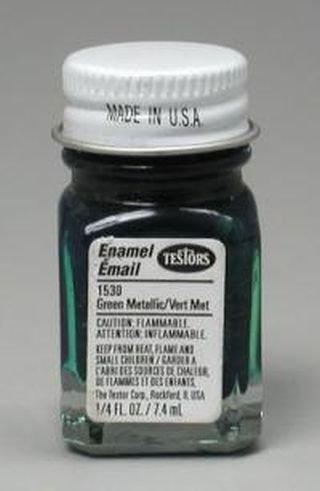 Testors Enamel 1/4 oz 1100 & 1500 Series Bottles Green Metal - Green Small Flake
