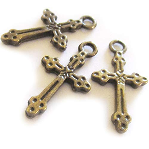 Cross Charms Findings - Heather's cf 95 Pieces Bronze Small Cross Pendant Beads DIY Cross Charm Bead Findings 21X11mm