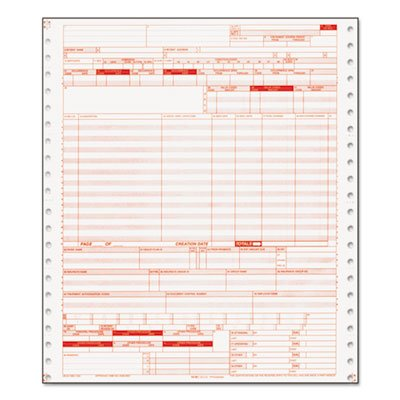 Ub04 Insurance Claim Form, 1-Part Continuous White, 9 1/2 X 11, 2500 Forms