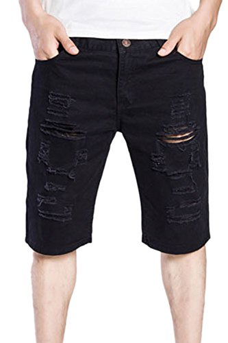 Los Hombres Ripped Jeans Denim Hoyos Cortos Pantalones Slim Fit Cremallera Black