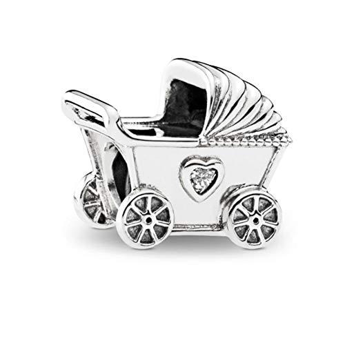 - Romántico Amor Baby's Pram Charm with Heart Shape Cz Silver Bead fit Pandora Bracelet Necklace