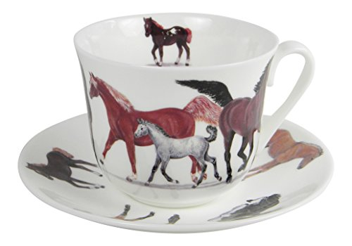 Roy Kirkham Horses Breakfast Teacup and Saucer Set Fine Bone - The Shoppes Chino At