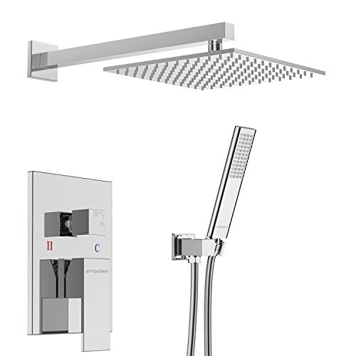 EMBATHER Brass Rainfall Shower Systems Wall Mounted with rain Shower Head 10 inch - Adjustable Shower Holder for Luxury Bathroom Shower Set Chrome (Contain Rough-in Valve Body and Trim)...