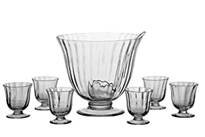 Aspen Handcrafted Glass Punch Bowl Set - 8 Pieces
