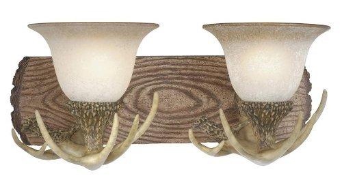 Noachian Stone Finish (Vaxcel VL33022NS Lodge 2 Light Vanity Light, Noachian Stone Finish by Vaxcel)