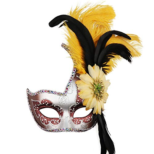 Masquerade Mask Halloween Ball Mask Christmas Costume Party Mask with Feather Coffee