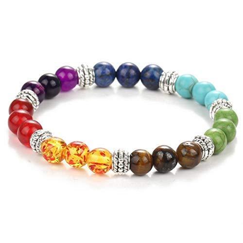 Infused with Reiki Energy beautiful elastic stone beaded bracelet with silver beads 7 Chakra Bead Bracelet