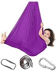 Topchances Indoor Therapy Swing voor kinderen, kind en tieners, zachte hangmat schommel met speciale behoeften voor kinderen, yoga, sensorische integratie outdoor camping (1,5 meter, diep paars)