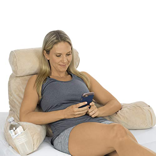 Xtra-Comfort Reading Pillow - Memory Foam Cushion - Neck Roll and Back Lumbar Support Bed Backrest for Tv, Sit Up Gaming, Pregnancy, Kids - Firm Couch Lounge Wedge Includes Armrest Pockets and Cover (Best Back Support Pillow For Bed)