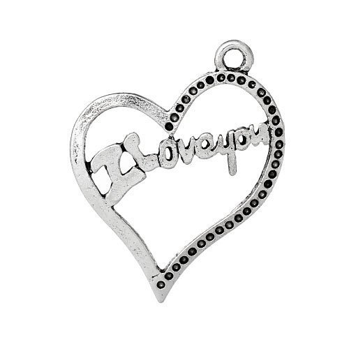 Paquet 4 x Argent Antique Tibétain 27mm Breloques Pendentif (I Love You) - (ZX12865) - Charming Beads
