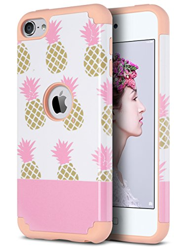 ULAK iPod Touch 7 Case, iPod Touch 6 Case, Slim Fit Protective Hybrid Dual Layer Soft Silicone and Hard Back Cover for Apple iPod Touch 5th/6th/7th Gen, Pink Pineapple (Case Gen Pineapple Ipod 4)