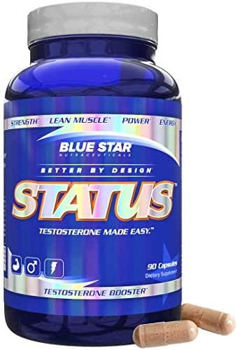 Blue Star STATUS Testosterone Booster for Men: Cutting Edge Test Booster and DIM Supplement with KSM 66 Ashwagandha,Naturally Build Lean Muscle, Boost Testosterone and Block Estrogen, 90 Capsules