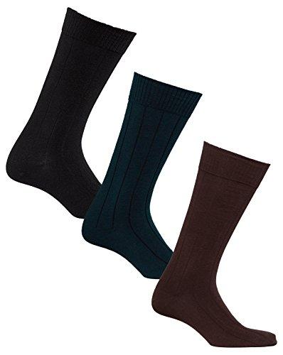 Diabetic Socks | Mens Black/Navy/Brown Mid-Calf Ribbed Assorted 3 Pack | Seamless Toe | Non-Binding Top | Sock Size 10-13 from Sugar Free Sox