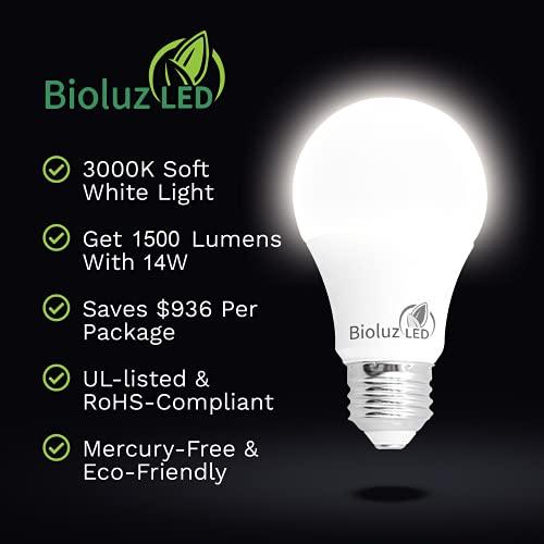 Bioluz LED 100W Dimmable LED Light Bulbs, Soft White 3000K, A19 LED Light Bulb 1600 Lumen - 4 Pack