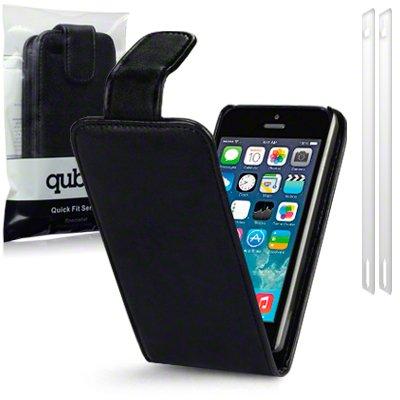 iPhone 5/5S aus schwarzem Kunstleder Flip Case/Hülle/Schutzhülle/Holster + 2-in-1 Displayschutzfolie