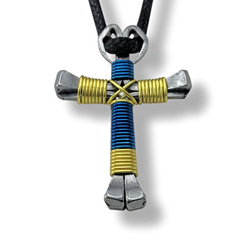 Sport Blue & Yellow Horseshoe Nail Cross -