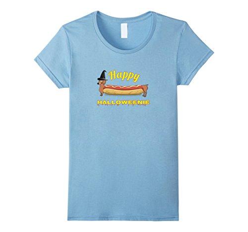 Womens Happy Halloweenie Dachshund Halloween t-shirt LIGHT Large Baby Blue