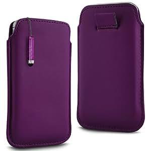 Direct-2-Your-Door - Sony Xperia Miro Prima Soft PU del tirón del cuero de la piel Caso Tire de la tabulación y Mini Stylus Pen - púrpura oscuro