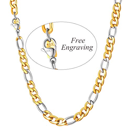 - U7 Two-Tone Chain 8mm Wide Stainless Steel & 18K Gold Plated Figaro Chain Necklace 28