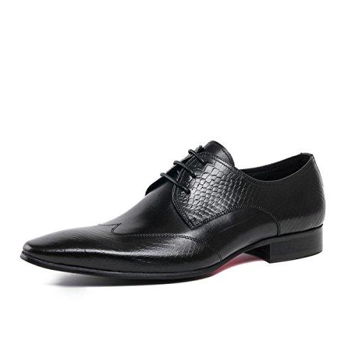 Lyzgf Mænd Gentleman Business Casual Mode Barber Spidse Snørebånd Lædersko Sort HZNXq