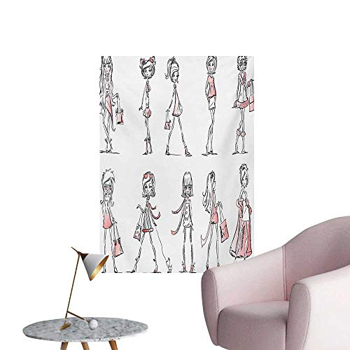 Anzhutwelve Girls Wall Paper Cartoon Girls with High Heel Shoes Glamour Fashion Urban Life Catwalk Style PicturePink White W24 xL32 Art Poster