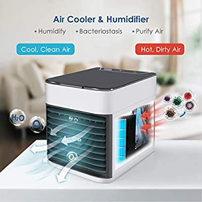 Air Conditioner Fan, Air Personal Space Cooler Small Desktop Fan Quiet Personal Table Fan Mini Evaporative Air Circulator Cooler Humidifier Bladeless Quiet for Office, Dorm, Room