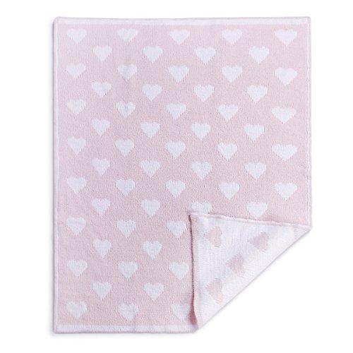 Chenille Blanket Bundle (Demdaco Baby Chenille Knit Blanket, Heart, Pink)